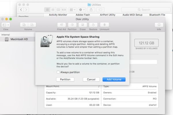Create partition on macOS