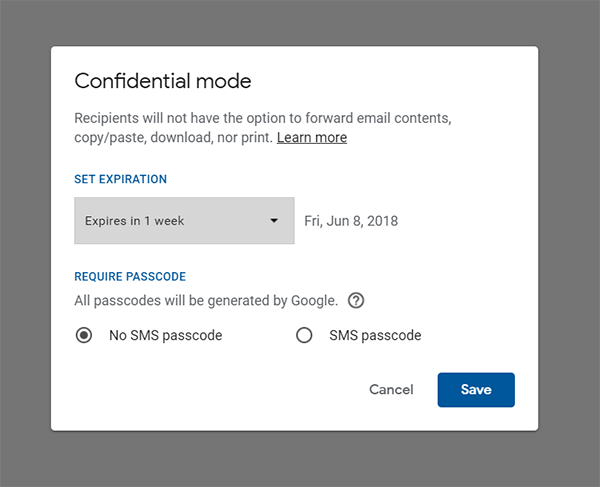 Guide to  use the Gmail Confidential Mode