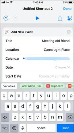 Use Calendar in Shortcuts App