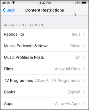 Content restriction for iPhone
