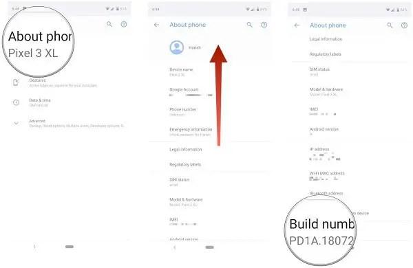Notch setting in Google Pixel 3 XL