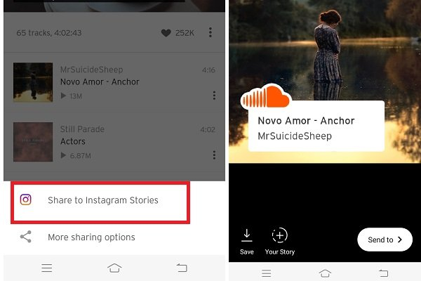 Soundcloud share to instagram stories