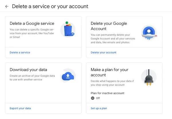 delete or deactivate Google account