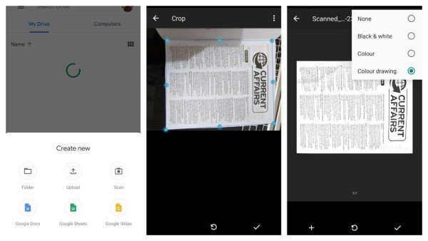 Google Drive scanner app for Android