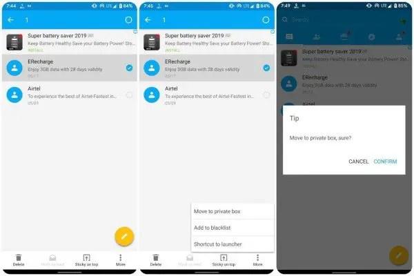 SMS hiding app