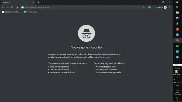 Incognito Mode in Chrome
