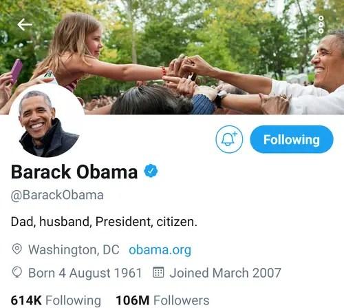 Barack Obama Twitter Account