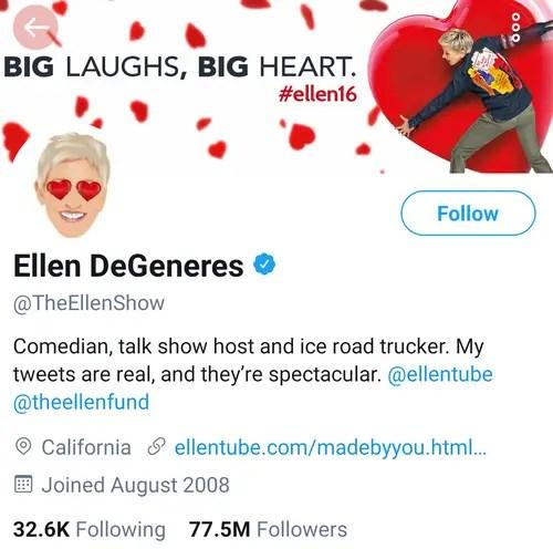 Ellen Degeneres Twitter Account