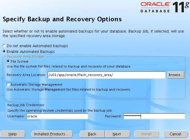 [Specify Backup Recovery Option]