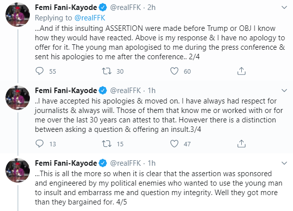 I have no apologies to offer- FFK gives reasons for lashing out at a journalist in Calabar