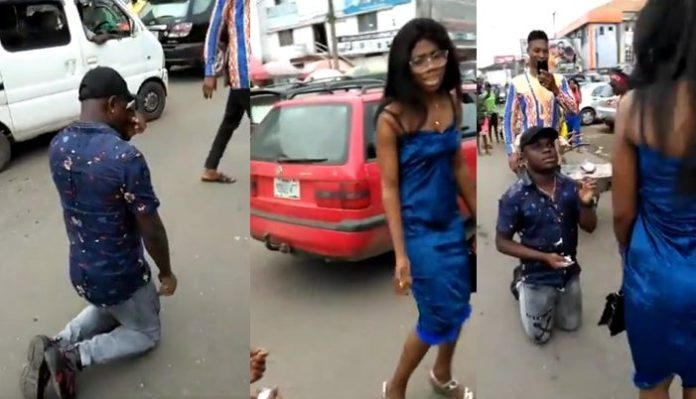 Watch Embarrassing Moment Man Kneels Down, Proposes To Girlfriend On A Busy Road And Walks Away