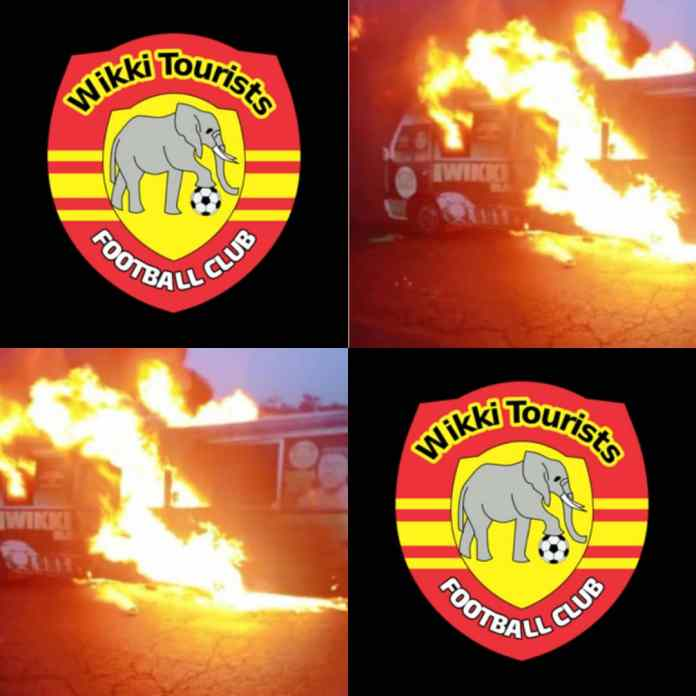 HAPPENING NOW!!! Wikki Tourists FC Involved In Accident As Team Bus Burnt Beyond Recognition