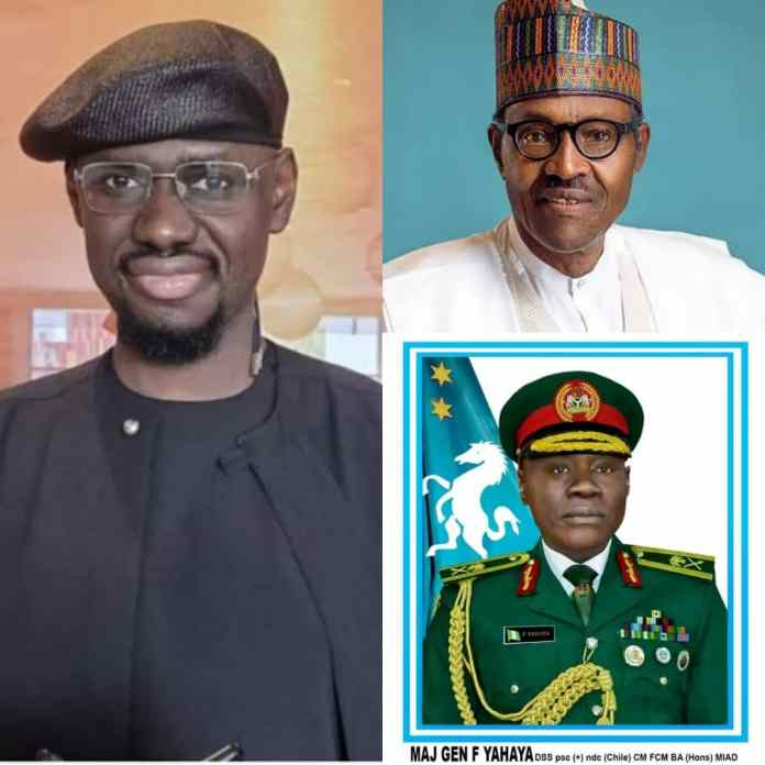 COAS Farouk Yahaya: Timi Frank Urges Nigerians To Hold Buhari Responsible For Destroying The Military