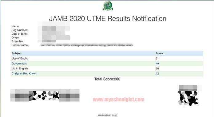 2020 jamb result