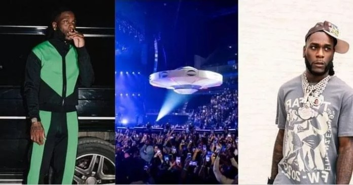 Moment Burna Boy Makes Grand Entrance At O2 Arena In A Spaceship [VIDEO]