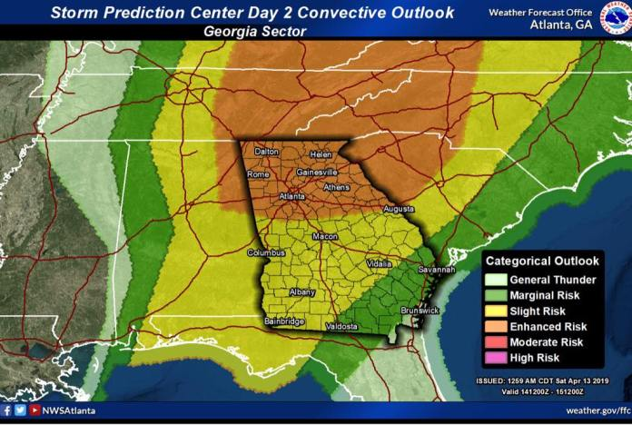 North and central Georgia brace for severe weather