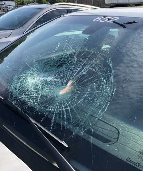 Police cars damaged in Gwinnett County