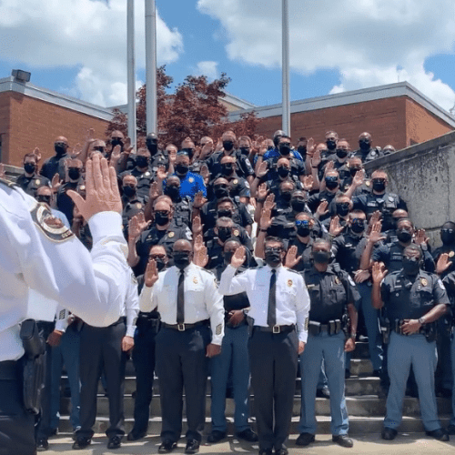 VIDEO: Cobb County Police Department retakes oath of office in show of support for black community