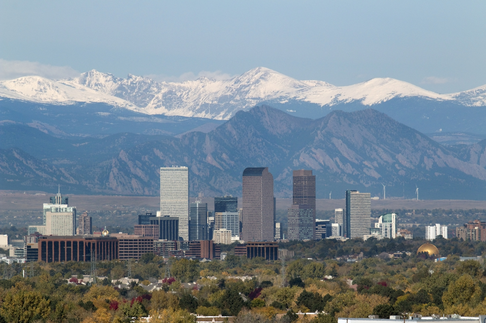 Snowy Indian Peaks and Downtown Denver Colorado skyscrapers
