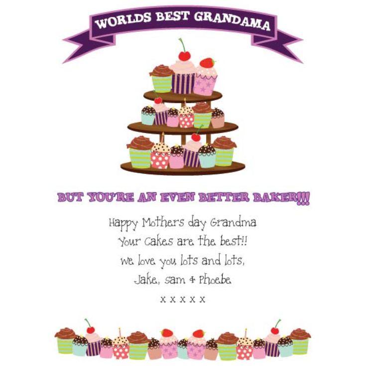 worlds best grandma cupcake