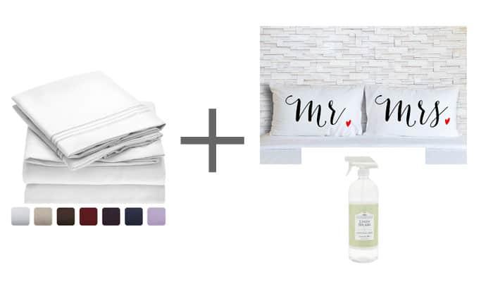 Wedding Gift Sheet Set Custom Pillows Linen Spray
