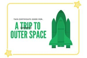experience gift for kids pretend space trip