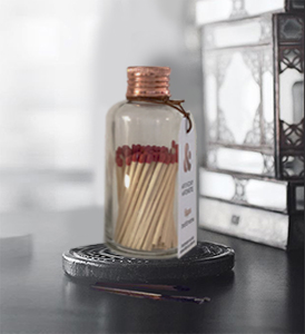 Small Glass Matches Bottle Copper Lid