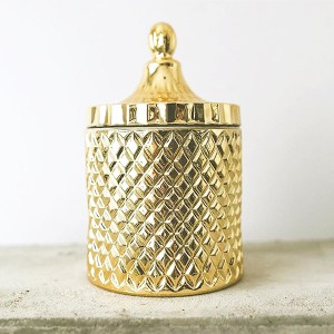 Gold Geometric Candle