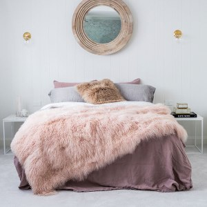 Blush Pink Mongolian Sheepskin Throw Blanket