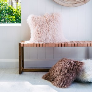 Blush Pink Mongolian Sheepskin Cushion