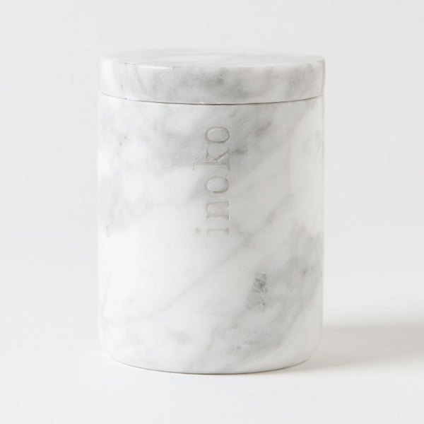 Inoko Large White Marble Candle Vessel