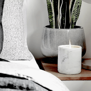 Inoko Large White Marble Candle