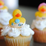 gender reveal cupcake with rubber ducky