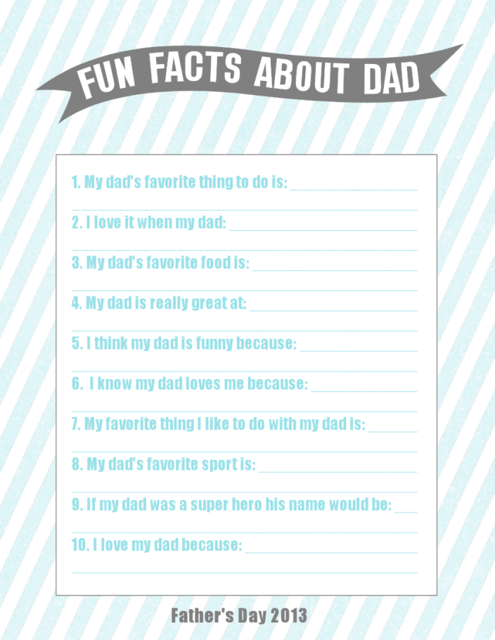 Printable Father's Day Questionnaire
