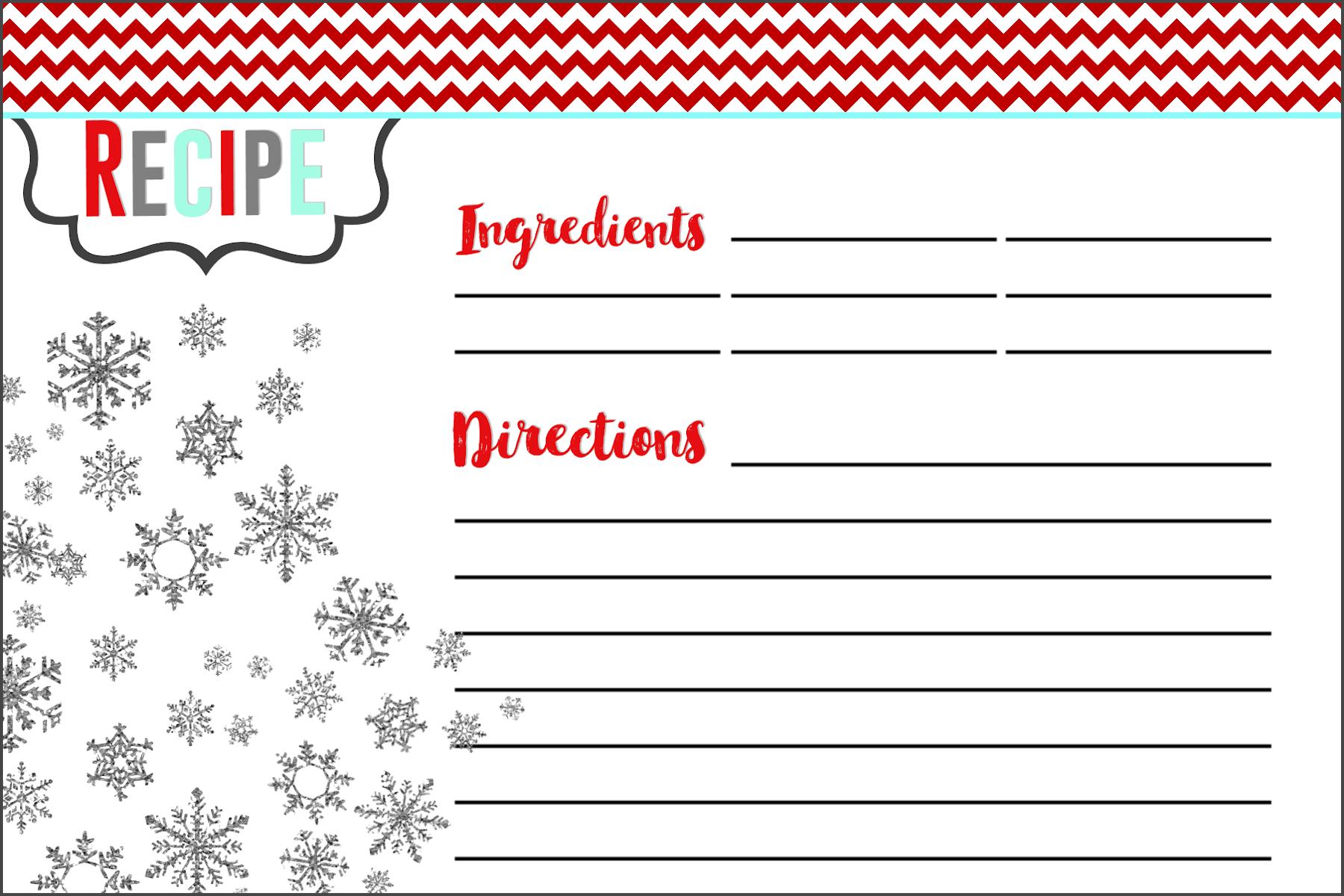 christmas cookie recipe card template food fox recipes