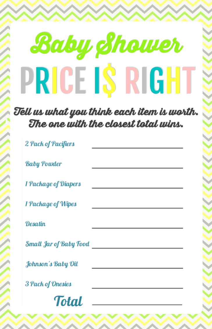 Baby Shower Price is Right Game - FREE PRINTABLE
