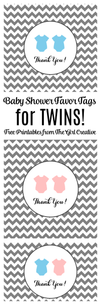 Baby Shower Favor Tags for Twins - The Girl Creative