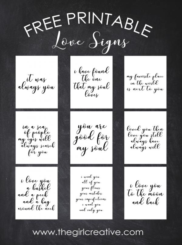 Free Printable Love Signs The Girl Creative