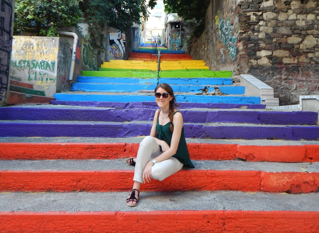 Image result for istanbul turkey street art Rainbow-colored stairs in Istanbul painted by a local man in 2013.
