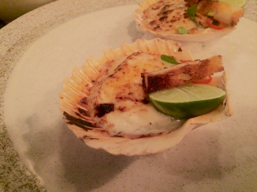 baked scallops from Pica, South American cuisine, Ubud, Bali