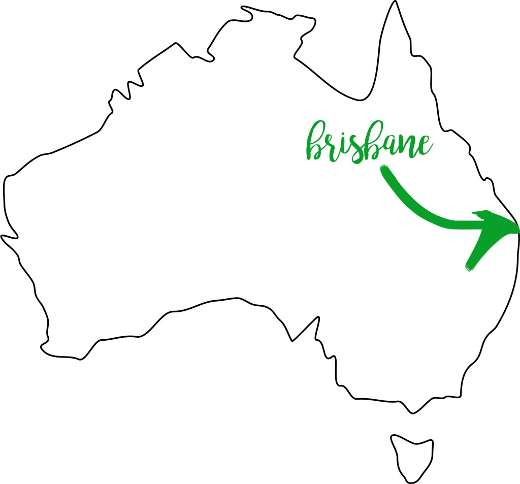 outline map of Australia with Brisbane highlighted