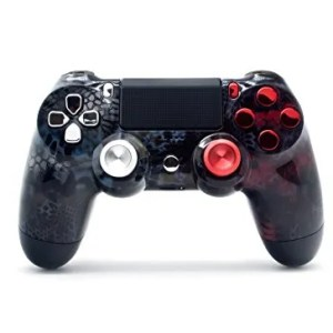 Sony-PS4-DualShock-4-PlayStation-4-Wireless-Controller-Custom-Silver-and-Red-Camo-Design-with-Chrome-Buttons-and-Aluminum-Thumbsticks-Un-Modded-0
