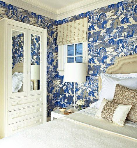 Schumacher Chiang Mai Dragon Blue White Wallpaper Bedroom The