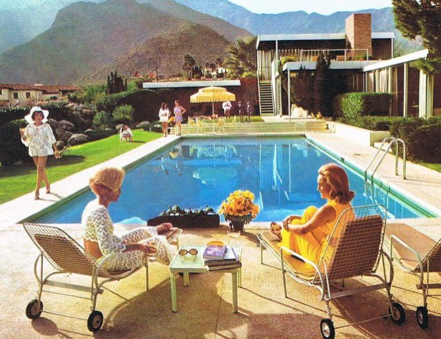 From slim aarons to meg braff this pool umbrella is pure for Pool design 1970