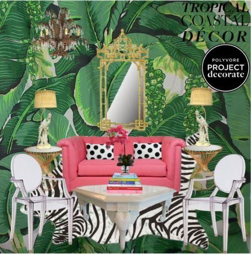 Polyvore Tropical Coastal Decor Palm Beach Chic Brazilliance Carleton Varney Pink  Green Ghost Chair