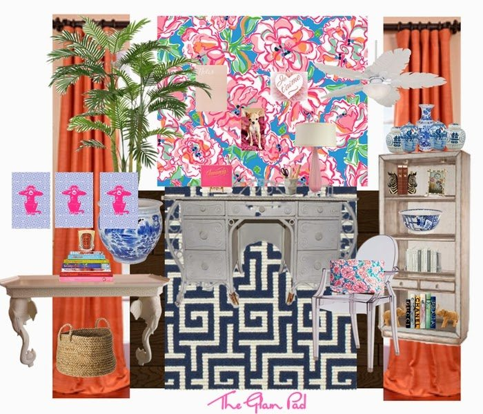 Merveilleux Lilly Pulitzer Home Office Coral Blue