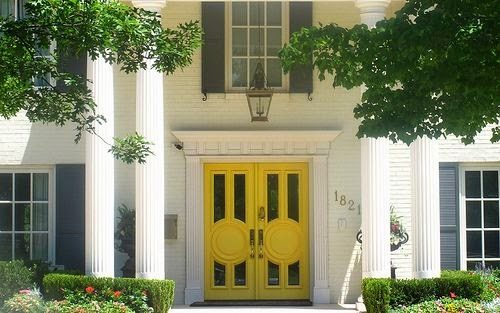 yellow-hollywood-regency-front-doors -black-shutters-white-brick-traditional-colonial-home & yellow-hollywood-regency-front-doors-black-shutters-white-brick ...