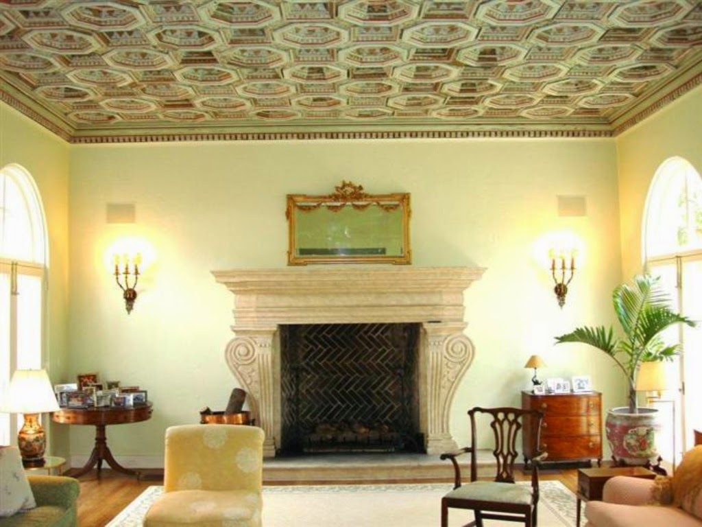 Beautiful  ceilings in the living and dining rooms pecky cypress doors and gracious staircase I am also in love with the murals which are so Palm Beach Chic