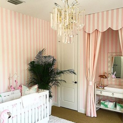 A Glamorous Pink and Green Nursery Inspired by the Beverly Hills hotel and Vintage Miami Beach