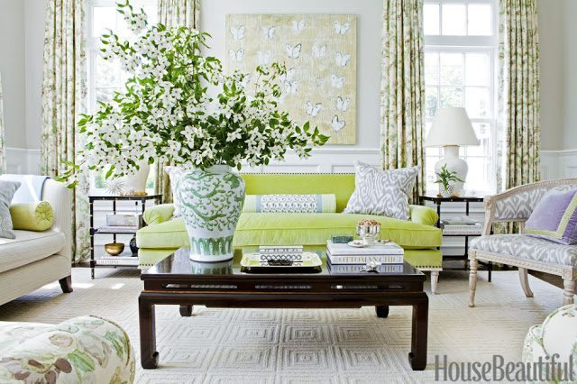 Great Whittaker sets off floral curtains in Lee Jofa us Bryanston with lush velvet on the sofa Madeline Weinrib us Luce ikat updates a Gustavian chair